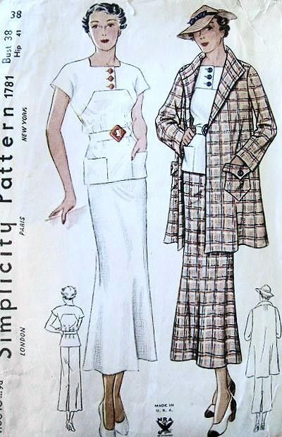1930s ART DECO 2 PC SLIM DRESS SWAGGER COAT JACKET PATTERN NRA SIMPLICITY 1781 BUST 38