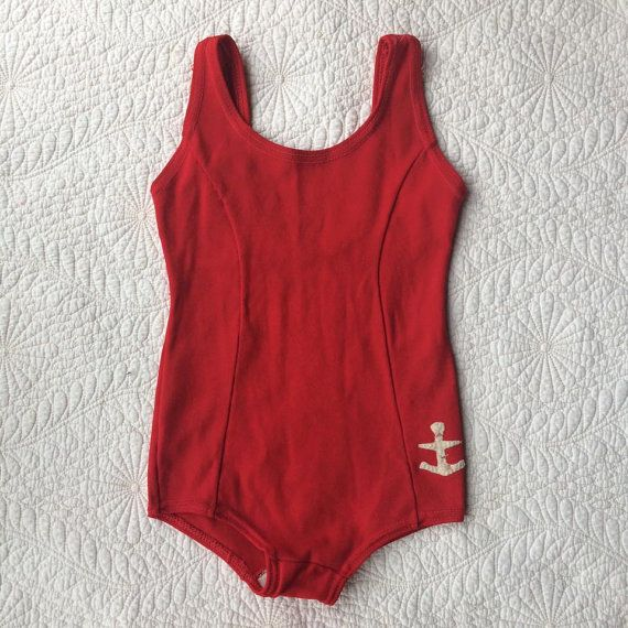 1950's Kid's Bathing Suit  Red Swimsuit  Anchor  by foxandrook