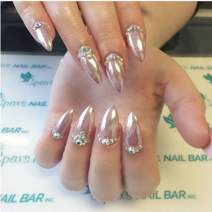 Crystal Chrome Nails: Stiletto Chrome Nails With Swarovski Crystal