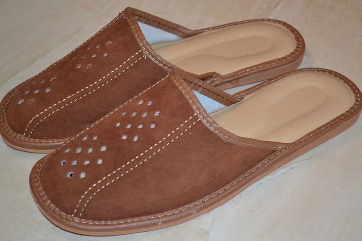 Mens Suede Leather Slippers Handmade