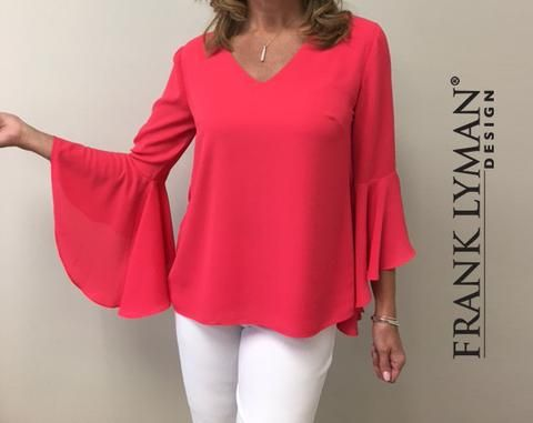 """Frank Lyman 2017. Chic pullover top with stylish """"belle"""" sleeve. Crepe knit fabric. Proudly Made in Canada"""
