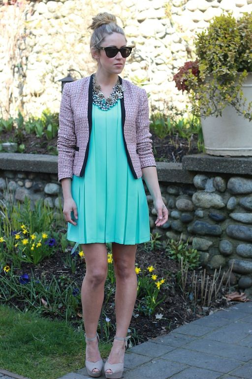love this dress.: Light Pink Blazers, Statement Necklaces, Fashion Outfits, Teal Dresses, Styles, Queen Wardrobes, Minis, Mint Dresses, Mint Green Dresses