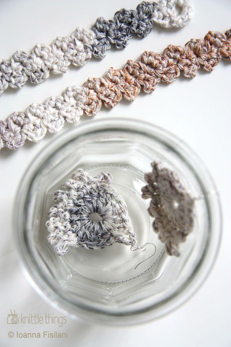 Knittle things crochet earrings and bracelets