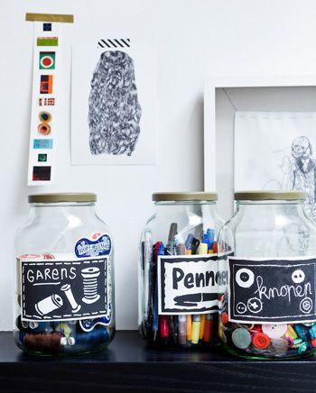 DIY jars - Opbergpotten versierd met mooie illustraties en teksten! Kijk op www.101woonideeen.nl