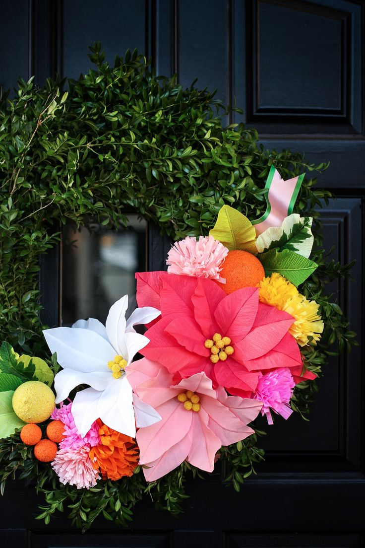 DIY Boxwood Wreath With Paper Flowers