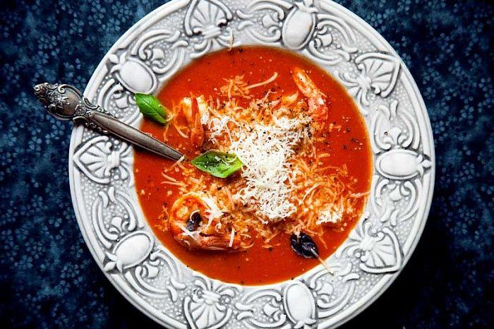 Томатный суп-пюре с сыром и креветками - пошаговый рецепт приготовления с фото