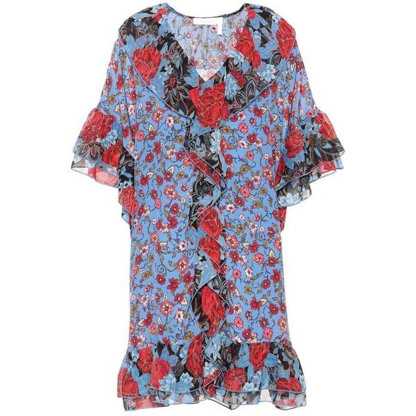 See By Chloé Floral-Printed Silk Kaftan ($735) ❤ liked on Polyvore featuring tops, tunics, multicoloured, caftan tops, kaftan tops, blue floral top, silk kaftan and silk caftan