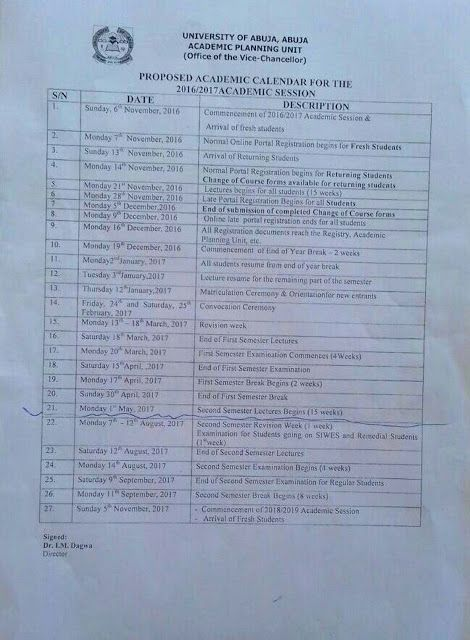 The management of University of Abuja has released its proposed academic calender for the 2016/2017 ...