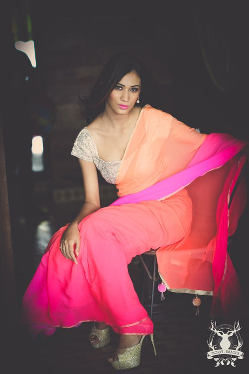 Glamorous girl in bright chiffon saree. www.morviimages.com