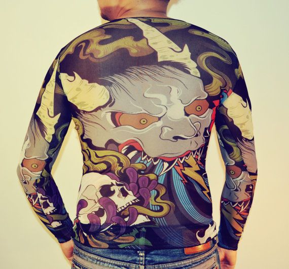 Tattoo T-Shirt Japanese YAKUZA Goblin T-shirt Long by GONNICHIWA