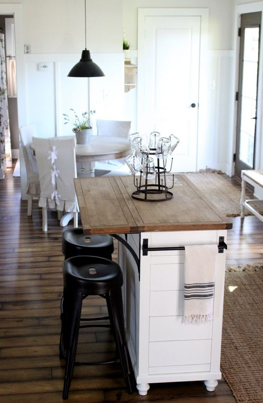 stock island makeover kitchen in neutrals with white wood and black accents via proverbs31girl - Small Kitchen Islands Ideas