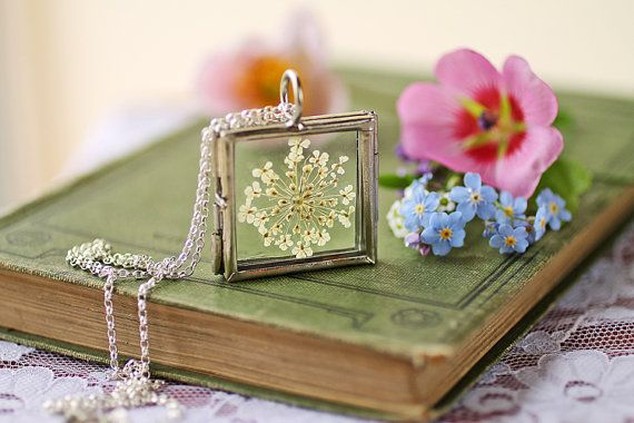 Queen Annes lace necklace living locket by RubyRobinBoutique