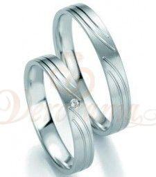 Βέρες γάμου λευκόχρυσες με διαμάντι breuning 7123-7124