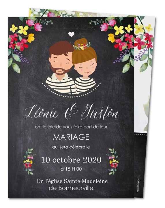 Faire part Mariage. Dessin couple