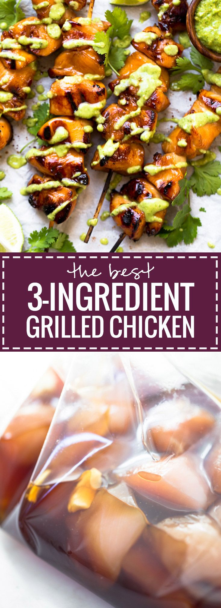 3 Ingredient Grilled Chicken recipe - with soy sauce, honey, and garlic. So easy and super adaptable! 200 calories. | pinchofyum.com