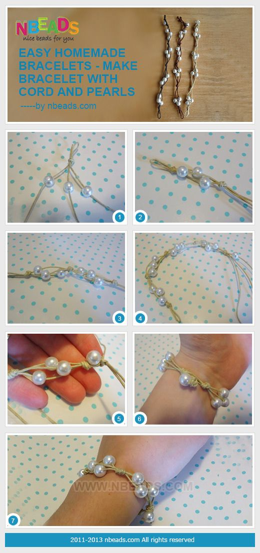 easy homemade bracelets - make bracelet with cord and pearls