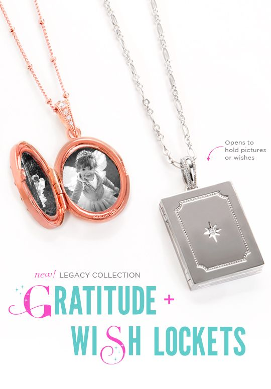 Gratitude and Wish Lockets:  Vintage charm meets modern elegance with the newest additions to The Legacy™ Collection: The Gratitude and Wish Lockets.  Wishes do come true when you hold them close to your heart. Count and carry your blessings in these exquisite, heirloom quality pieces you will cherish for years to come.  #origamiowl #lockets #gratitude #wishlocket #legacy collection