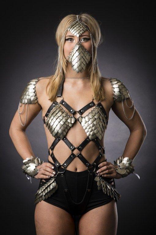 Scale Armour Harness - body suit - leotard - fetish - fantasy- fashion