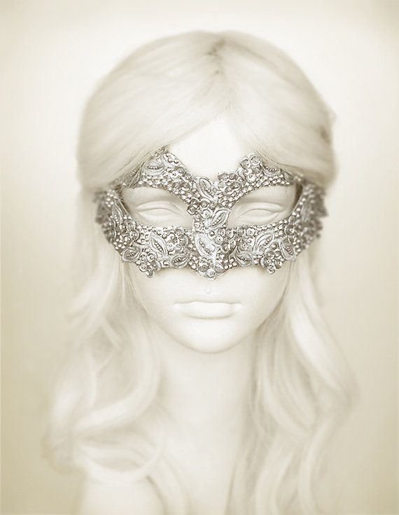 Sequined Silver Masquerade Mask With Rhinestones And by SOFFITTA