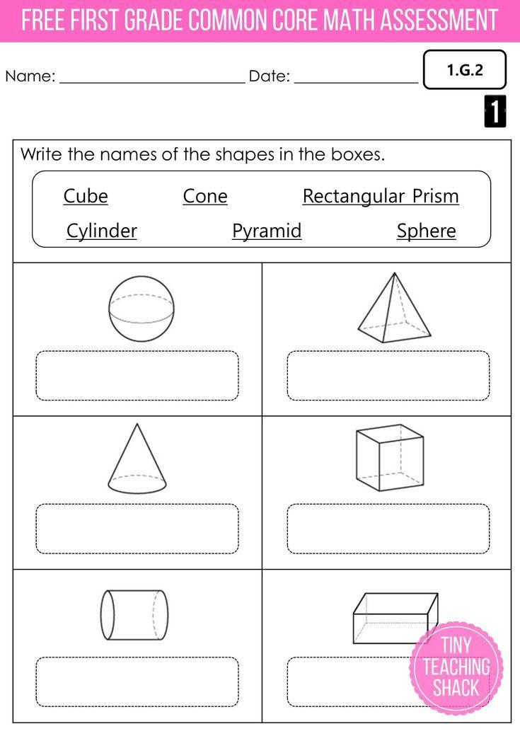 Free First Grade Common Core Math Assessment Geometry Common Core Math Math Assessment Common Core Math Standards