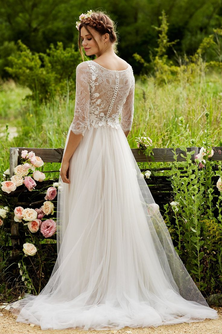 Romantic A Line Bohemian Spring Wedding Dress With Lace Sleeves Check Out The Beautiful Love Marley 2015 Bridal Collection