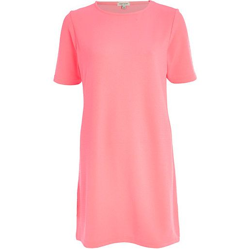 Bright pink t-shirt dress #riverisland