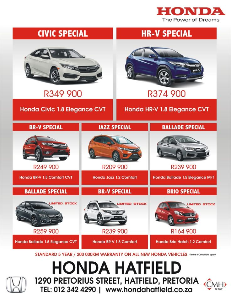 Don't miss out @ #Honda #Hatfield !! Contact us today on 0123424290 for more information and prices. *Terms and Conditions Apply. #Autofind