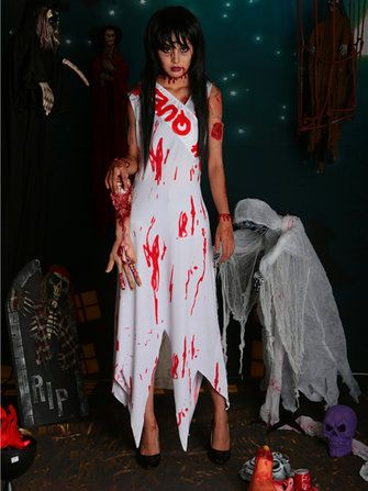 Halloween Party Ghost Bride Blood Costumes Cosplay Bride of Chucky Dress and Sash at Banggood