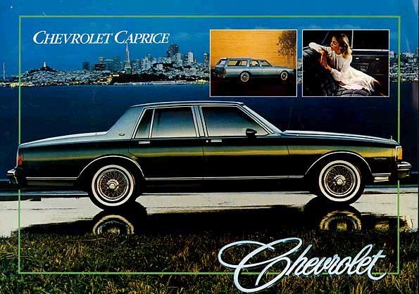1981 Chevrolet Caprice Classic Four Door Sedan  Ours was Harvest gold colour.  My dad worked for a paper company and this was his daily driver.  There was 6 of us including mom and dad.  3 in the front me in the middle.  3 across the back. It's really just as family lampoons vacation depicts the lifestyle.  Have fond memories of us kids misbehaving while dad swung and hit my siblings in the backseat.  We definitely were cozy.  No forms of entertainment just constant questions.  Are we there…
