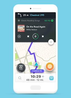 Spotify gives you driving directions through Waze     - CNET Waze and Spotify announced integrations with each other.                                                      Waze                                                  Music and driving go hand in hand and now so do two major music and driving apps.  On Tuesday Spotify and Waze announced new updates that let users of each app access features from either app.   For example if youve got both Waze which is owned by Google and Spotify…