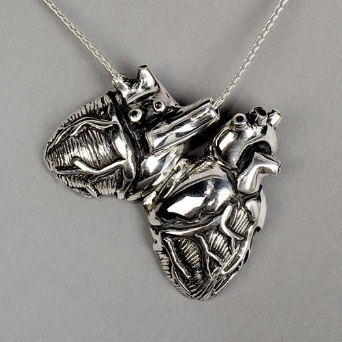 Original Silver Anatomical Heart Locket