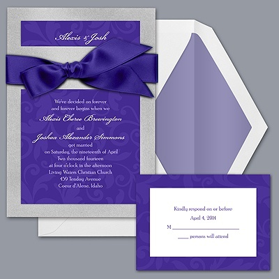 Treasured Jewels Pattern - Silver & Regency Invitation - Love these, Simply Elegant.