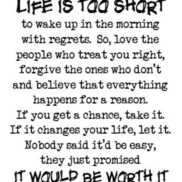 Life is too short to be miserable