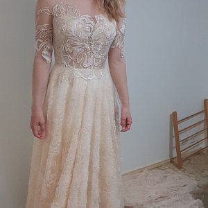 ce18c3b404f Stella   Vintage natural French lace wedding dress with closed back ...