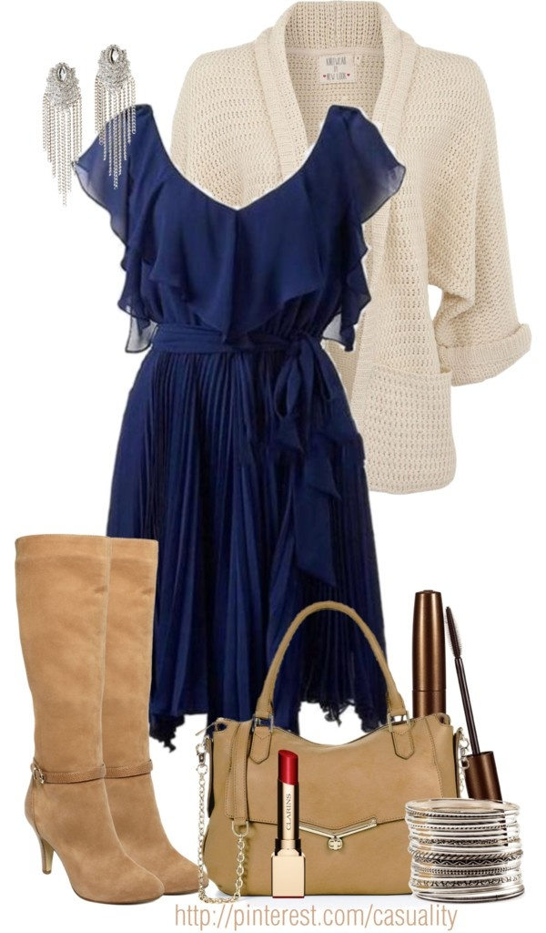 """""""Blue Flow Dress & Cream Cardigan"""" by casuality on Polyvore"""