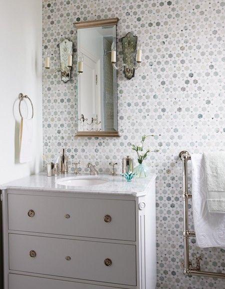 Glamorous Traditional Bathroom | photo Stacey Brandford | Sarah Richardson Design | House & Home: Sarah Richardson, Vanities, Bathroom Wall, Marbles, Bathroom Ideas, White Bathroom, Wall Tile, Mosaics Tile, Powder Rooms