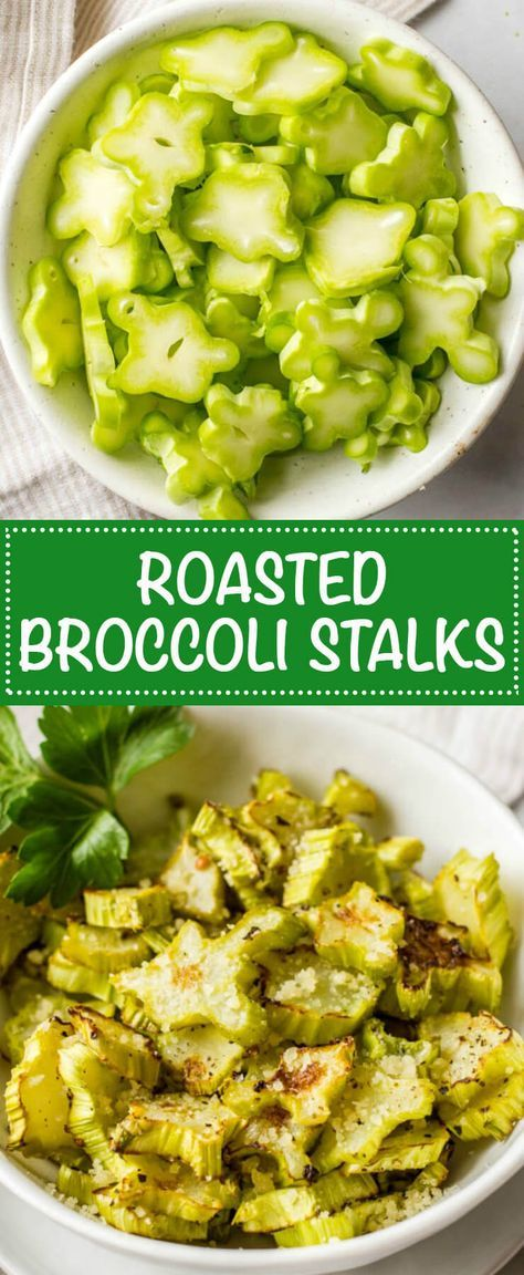 Roasted broccoli stalks — or coins — are a great + tasty way to incorporate broccoli stems and reduce food waste! | http://www.familyfoodonthetable.com