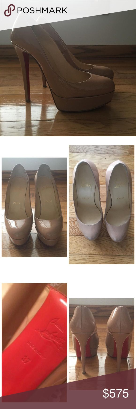 """Christian Louboutin 'Bianca' 140mm nude pump Great Condition:Worn 3 times.Worn to 2 weddings & a conference.The red paint on the sole was damaged as with all CL Shoes.I then had them re-soled with the red grip sole put on for the bottom of my CL Shoes to protect the red paint-the red paint will come off after a few wears.The pretty red part on the back of the shoe that everyone sees is in perfect condition.I am selling these is because they were a bit big so i bought a 36.5.""""Bianca""""Stiletto…"""