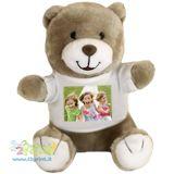Fai in modo che non sia il solito orsetto! Personalizza la sua mini t-shirt bianca in puro cotone con una simpatica foto!