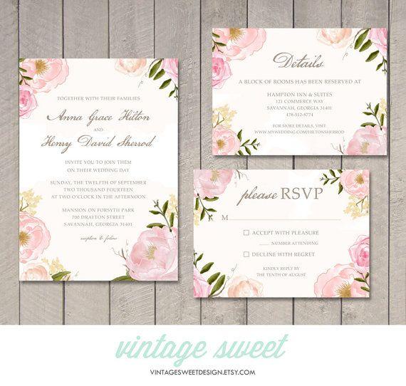 38 best wedding invitations images on pinterest vintage candy vintage floral wedding invitation rsvp details card by vintage sweet 2800 vintagesweetdesign stopboris Choice Image