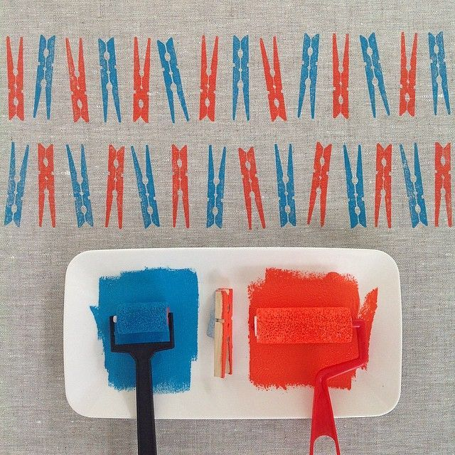 { week two } of the #52weeksofprintmaking challenge 2015 by Yardage Design :: block printed wooden clothes pegs in blue and orange onto grey linen