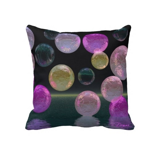 Night Jewels – Magenta and Black Brilliance Throw Pillow from DianeClancyBubbles at Zazzle by Diane Clancy's Art