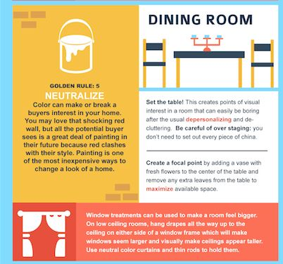 "Great tips on ""5 Golden Rules to Home Staging on a Budget."" Rule #5: NEUTRALIZE - you may love that neon purple dining room paint, but a potential buyer may see a lot of work having to re-paint if it is not their style. Re-painting the house with neutral colors will ensure that buyers are not put-off by the room colors of your house."