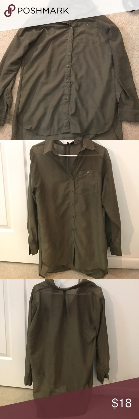 H&M Divided sheer olive green tunic button down Loose fitting, great condition, olive green tunic top Divided Tops Tunics