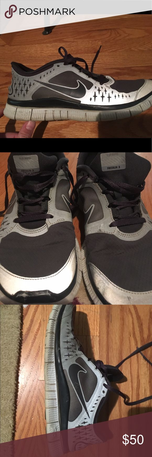 NIKE FREE RUNS 3 (H2O REPEL) Size 8 - dark grey and light grey reflective shoes Nike Shoes Athletic Shoes
