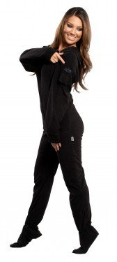 Back in Black - Hooded Footed Pajamas - Pajamas Footie PJs Onesies One Piece Adult Pajamas - JumpinJammerz.com