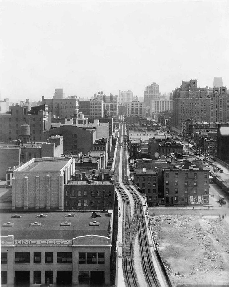 high line anni 30 - new york - vintage picture - black and white - new york - urban - ferrovia sopraelevata