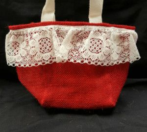 """QT014 Red Burlap with 3"""" Lace - Red Liner"""