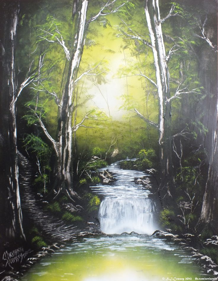 """""""Forest Green"""" Spray Can work (on card, large). 2012."""