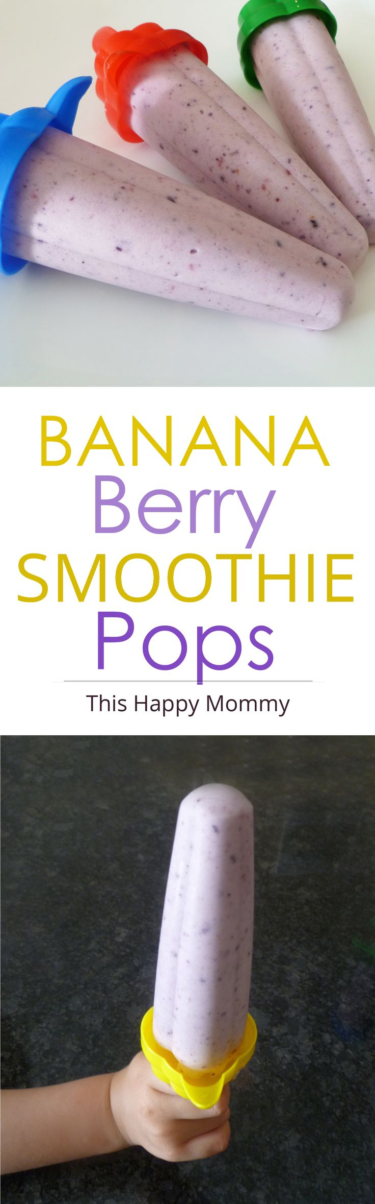Banana Berry Smoothie Pops -- Stay cool all summer long with this four-ingredient, smoothie style popsicle. | thishappymommy.com